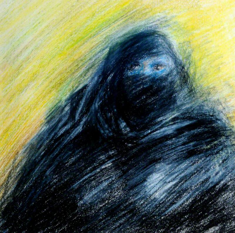 Gulf Woman against Yellow Wall Prayer