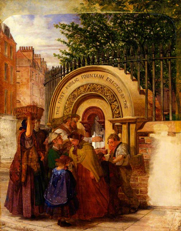 Study for 'The First Public Drinking Fountain'