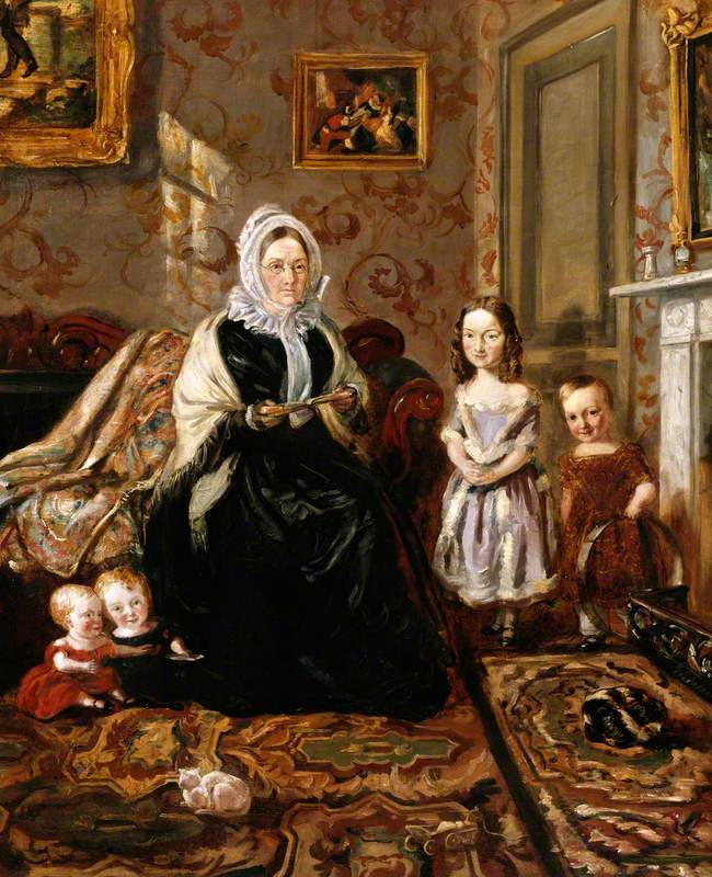 Henry Clark's Mother-in-Law, Mrs Davies, and Four of His Children in the Drawing Room of His Home, 186 High Street, Homerton