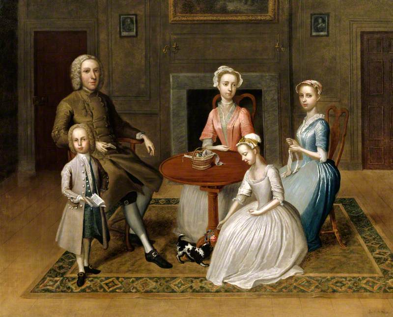 Group Portrait (possibly of the Brewster Family), in a Domestic Interior