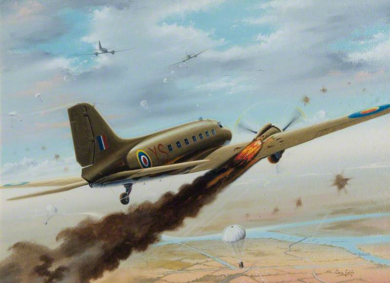 DC3 Dakota of Lord VC, on Fire over Dropping Zone
