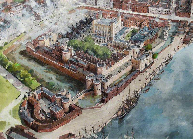 Artist's Impression of the Tower of London Site, 1841