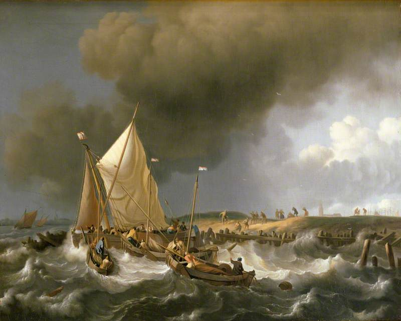 Boats in an Upcoming Storm with the Church of Zandvoort