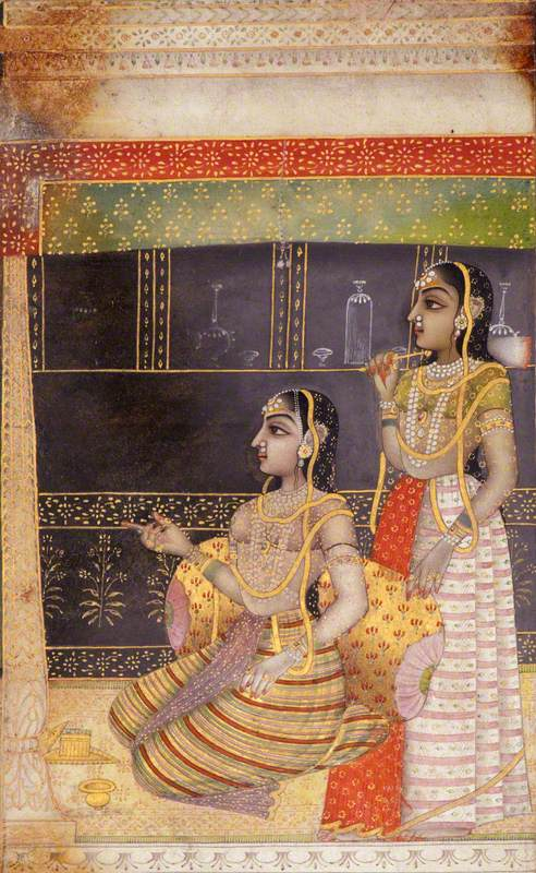 Lady with Attendant Performing Puja