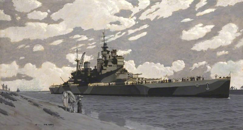 Battleship in Suez Canal, HMS 'Howe'