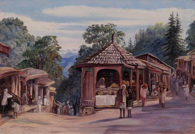 The Bazaars, Simla, India
