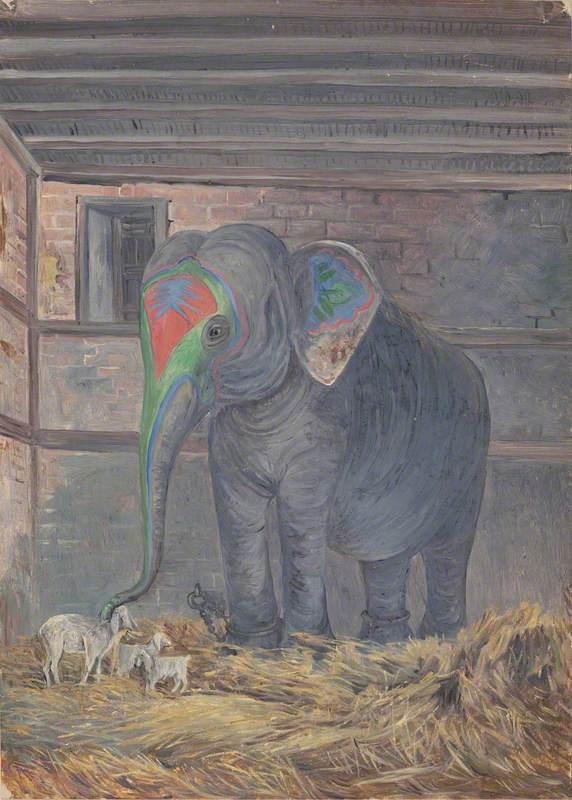 Famous Elephant with Pet Goat, Bhavnagar, Gujarat, India