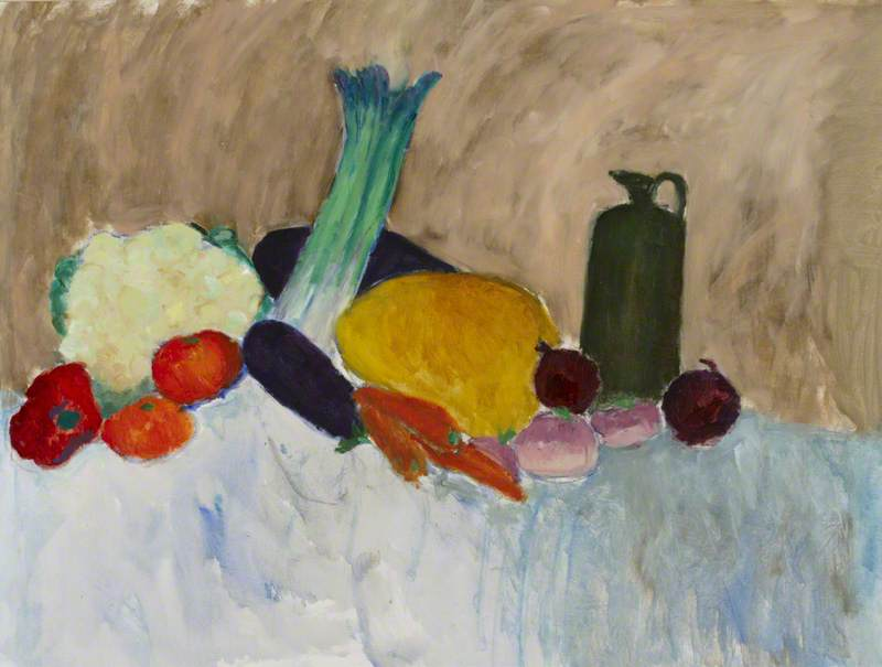 Still Life with Vegetables and Green Bottle