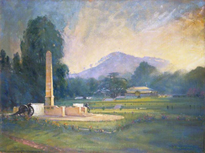 The Punjab Frontier Force Memorial on the Maidan at Kohat, c.1955