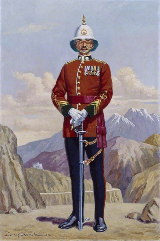 A British Officer of the 1st Punjab Regiment (with a view beyond of the mountains of the North West Frontier), India, c.1922