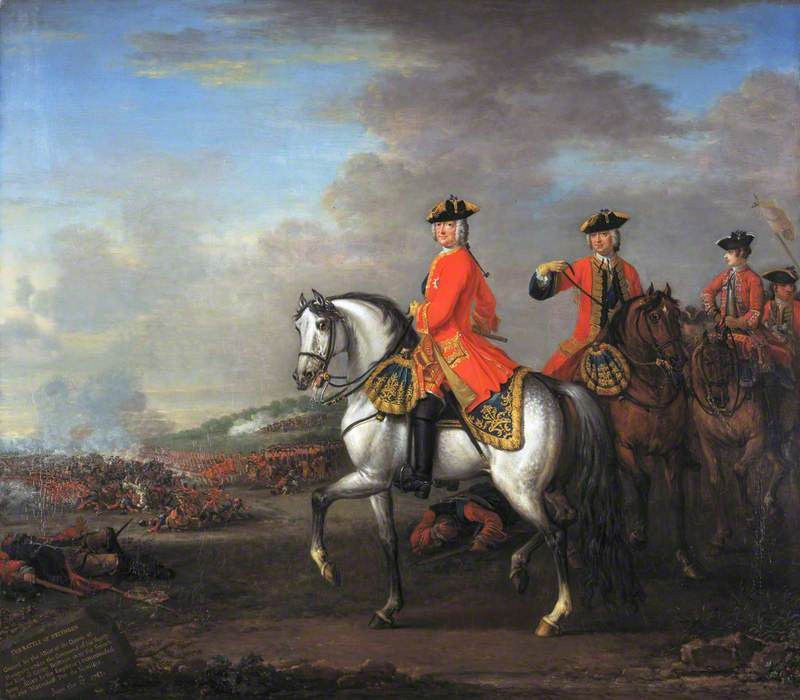 George II at the Battle of Dettingen, with the Duke of Cumberland and Robert, 4th Earl of Holderness, 27 June 1743