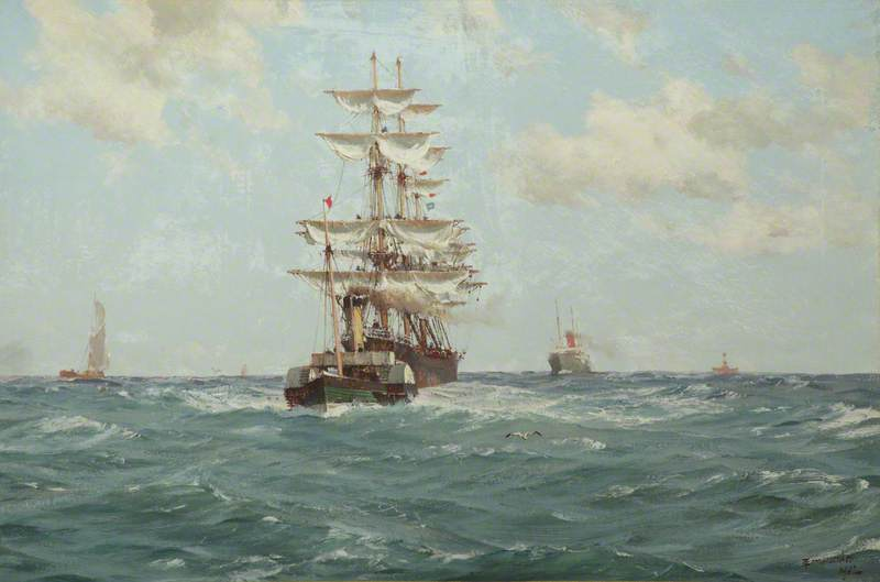 Paddle Tug Towing a Full-Rigged Ship