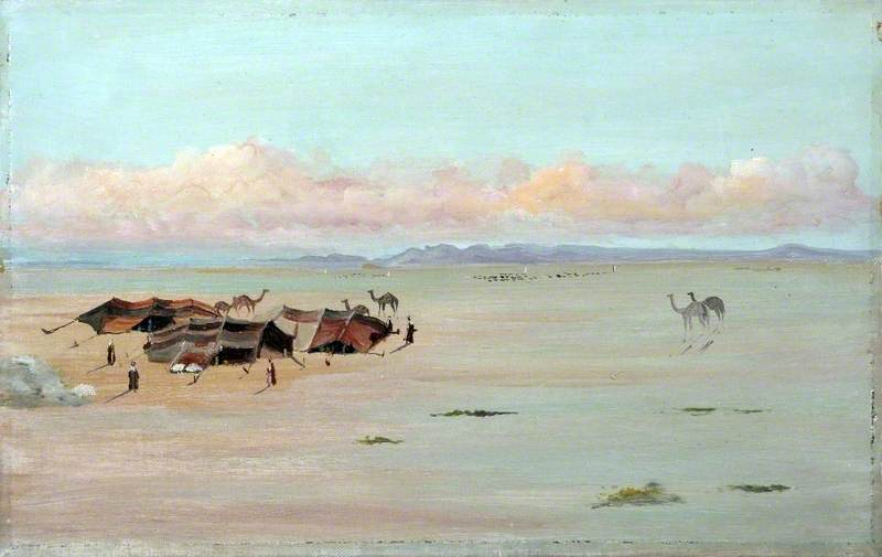 Desert Landscape with Bedouin Tents, Camels and Figures