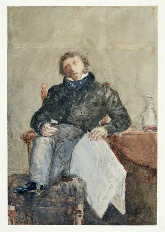 Commercial Traveller Dozing after Dinner at the Lancaster Inn