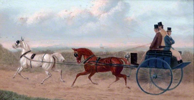 Three Men Riding on a Horse and Trap