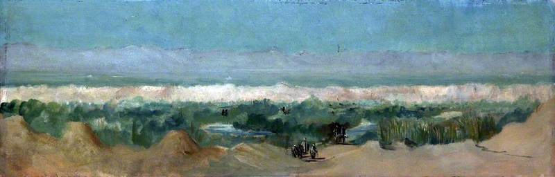 Desert Landscape with Figures Approaching an Oasis