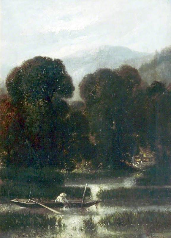 Landscape with a Boat and a Man Fishing