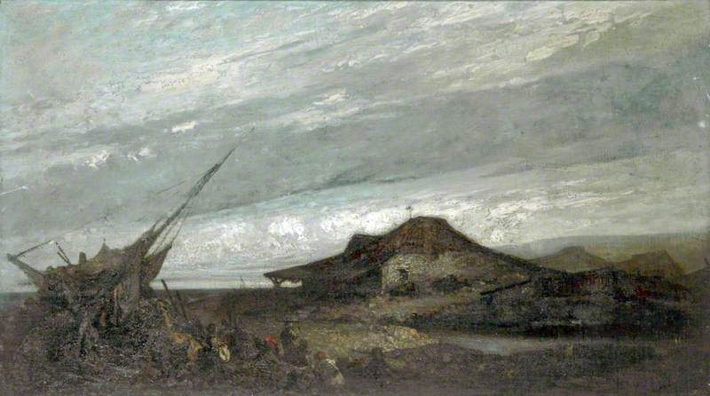 House on the Shore with Figures by a Grounded Boat