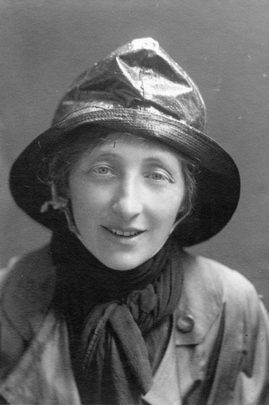 Olive Edis Wearing Sou'wester Hat