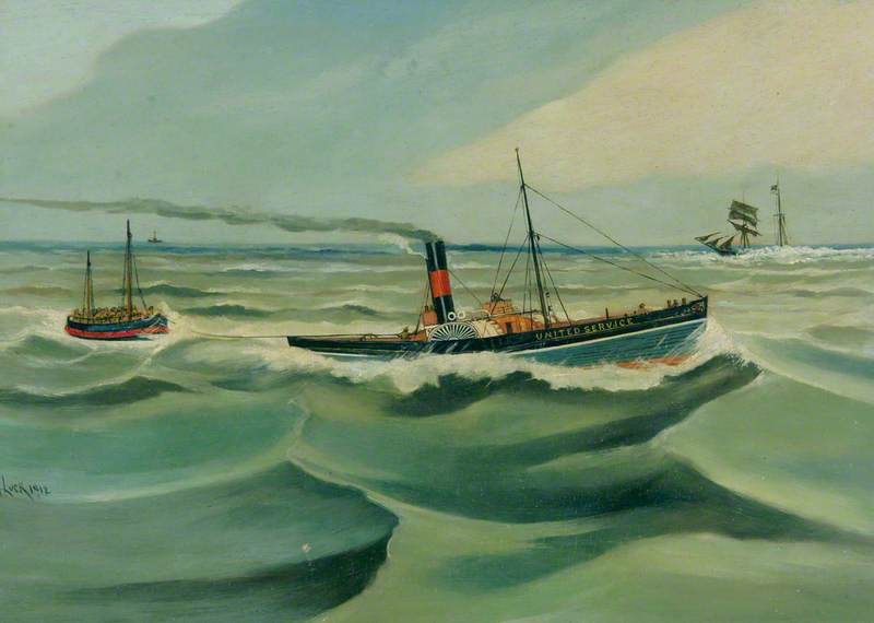 Steam Tug 'United Service' Towing the Caister Lifeboat 'Covent Garden'