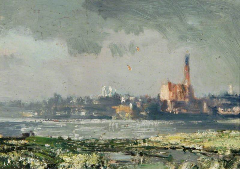 Sketch of King's Lynn over the Harbour, Norfolk