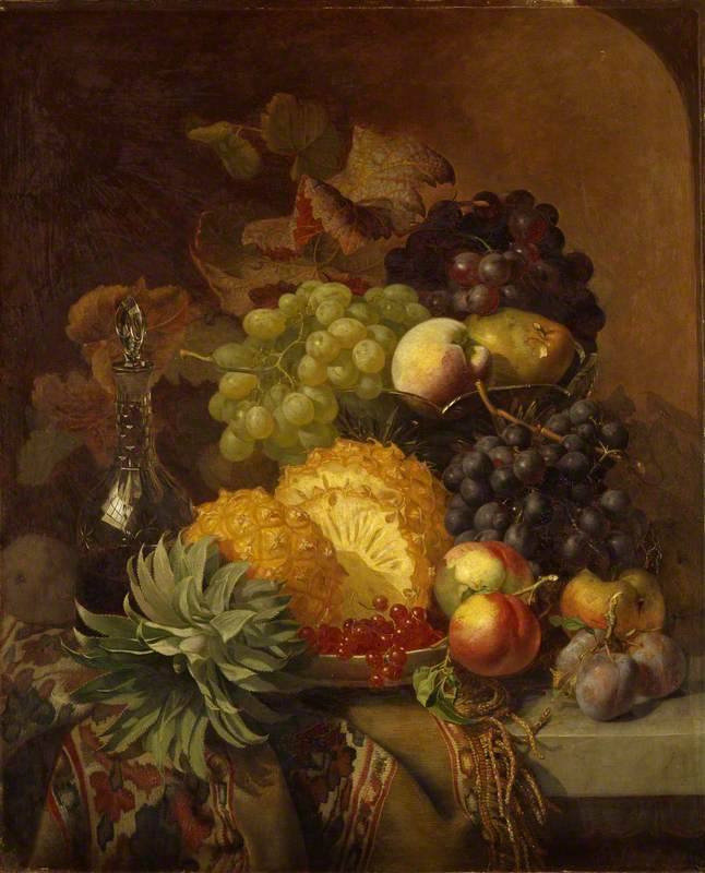 Fruit: Grapes, Peaches, Plums and Pineapple with a Carafe of Red Wine