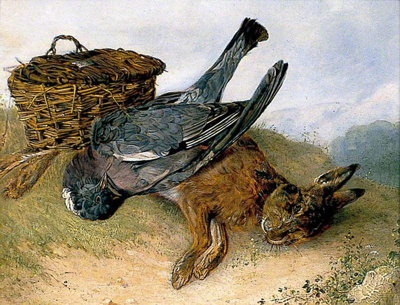 Still Life of Hamper with Dead Wood Pigeon and Leveret
