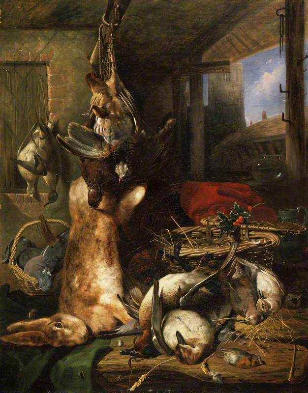 Still Life of Dead Ducks, a Hare with a Basket and a Sprig of Holly