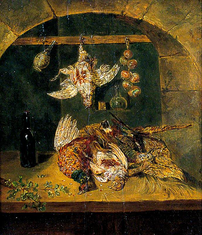 Still Life of Dead Game with a Flagon and a String of Onions