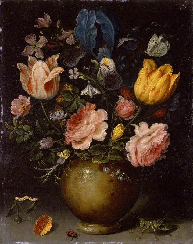 Floral Study with Insects in the Foreground