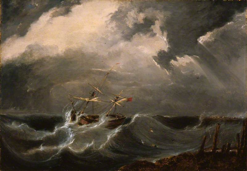 Saving the Crew of the Brig 'Leipzig', Wrecked on Yarmouth Bar, on 7th December 1815