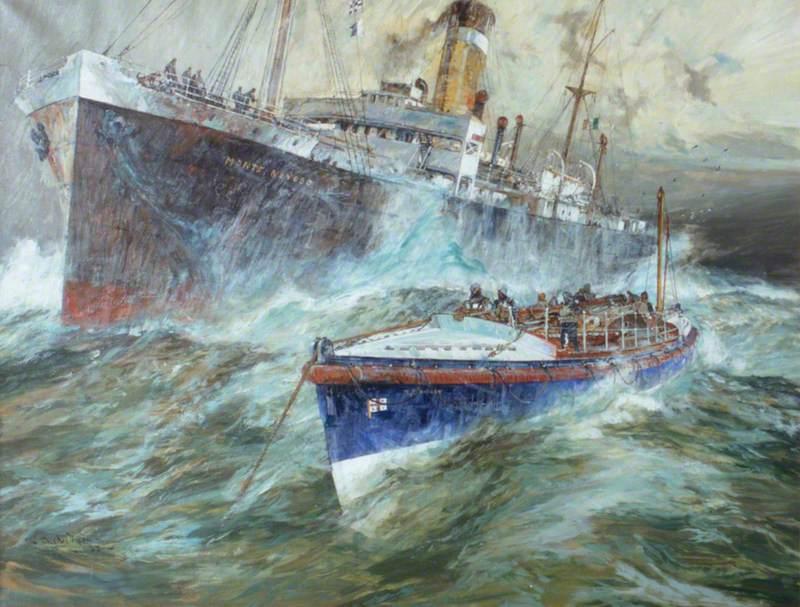 The Cromer Lifeboat alongside the Italian Steamer 'Monte Nevoso', October 1932