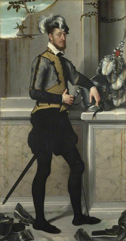 A Knight with his Jousting Helmet ('Il Cavaliere dal Piede Ferito', Conte Faustino Avogadro (?) )