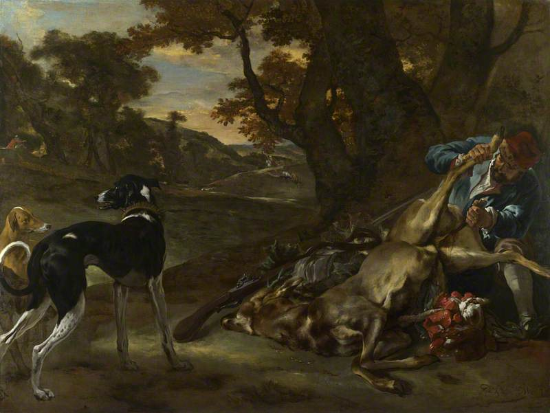 A Huntsman cutting up a Dead Deer, with Two Deerhounds