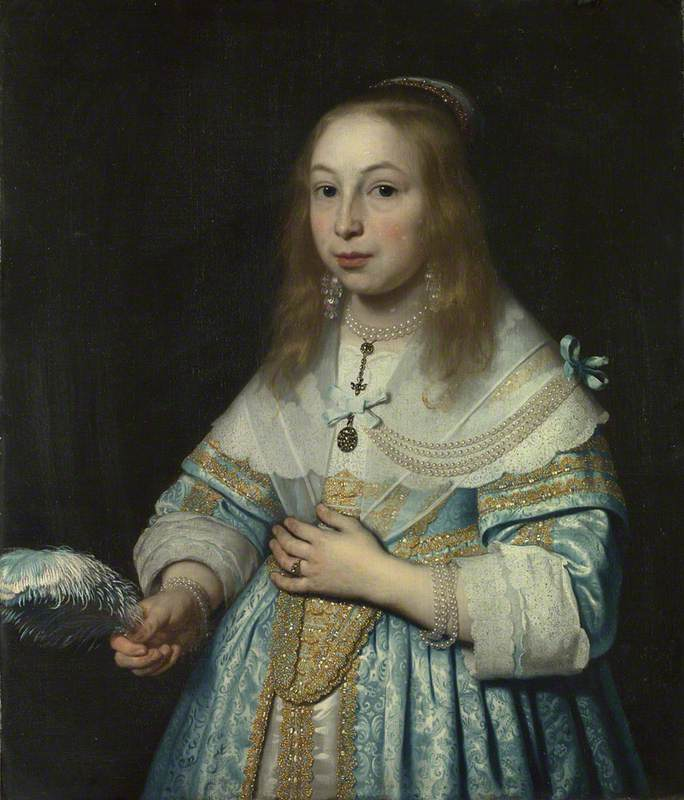 Portrait of a Girl in Pale Blue with an Ostrich Feather Fan