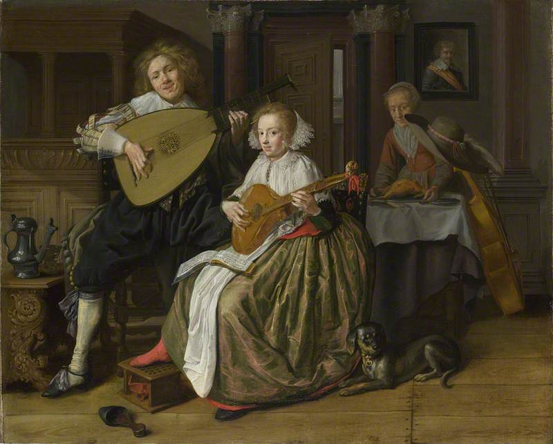 A Young Man playing a Theorbo and a Young Woman playing a Cittern