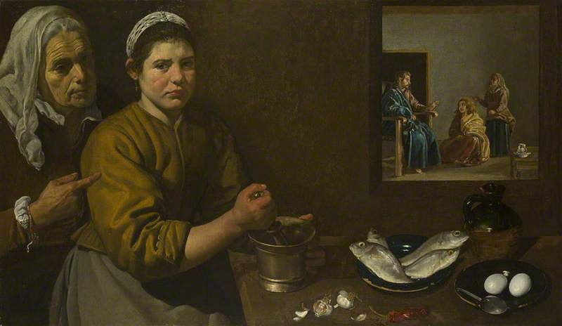 Kitchen Scene with Christ in the House of Martha and Mary