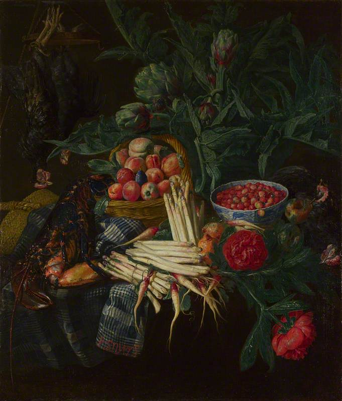 A Still Life with Fruit, Vegetables, Dead Chickens and a Lobster