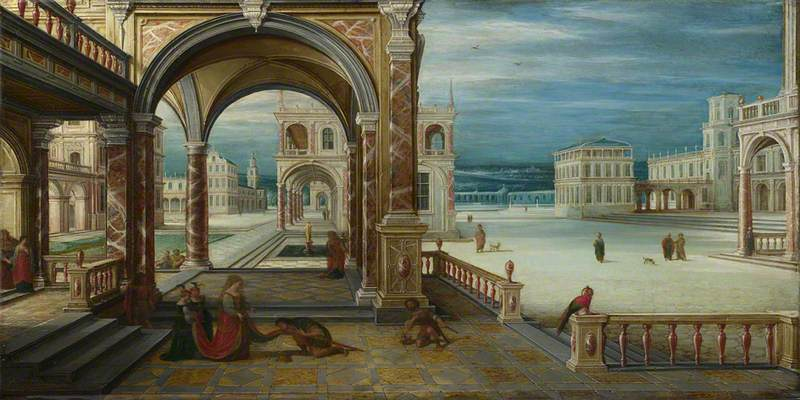 A Man kneels before a Woman in the Courtyard of a Renaissance Palace