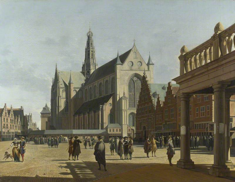 The Market Place and the Grote Kerk at Haarlem
