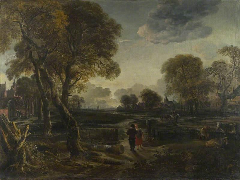 An Evening View near a Village