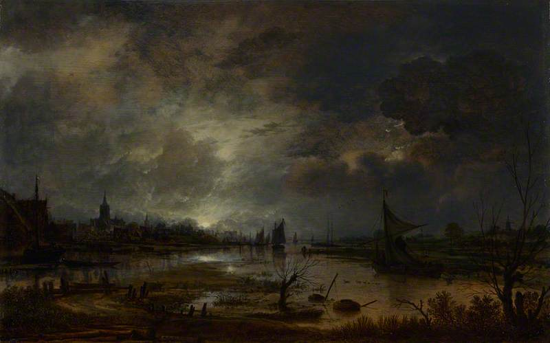 A River near a Town, by Moonlight