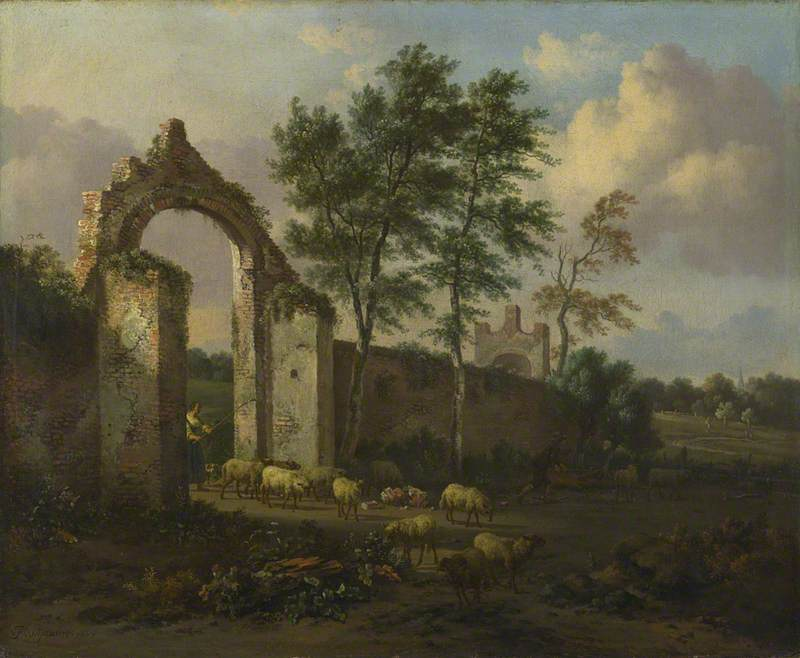 A Landscape with a Woman driving Sheep through a Ruined Archway