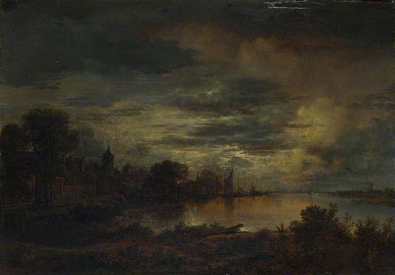 A Village by a River in Moonlight