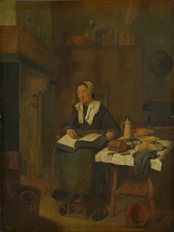 A Woman Asleep by a Fire