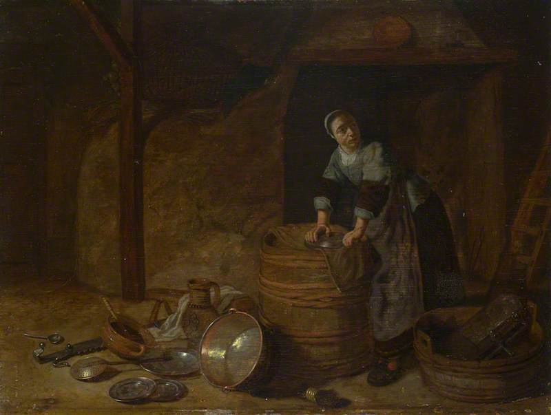 A Woman scouring a Pot