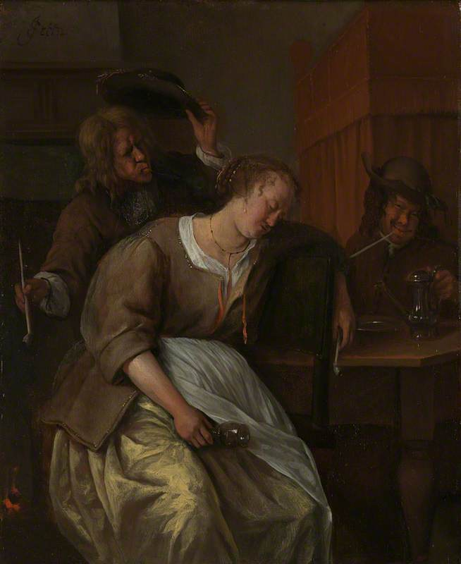 A Man blowing Smoke at a Drunken Woman, Another Man with a Wine-pot
