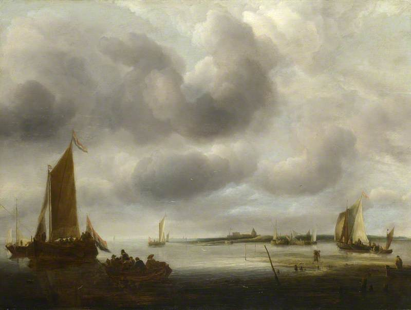 A Coast Scene, with a Small Dutch Vessel landing Passengers