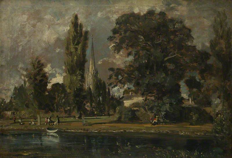 Salisbury Cathedral and Leadenhall from the River Avon