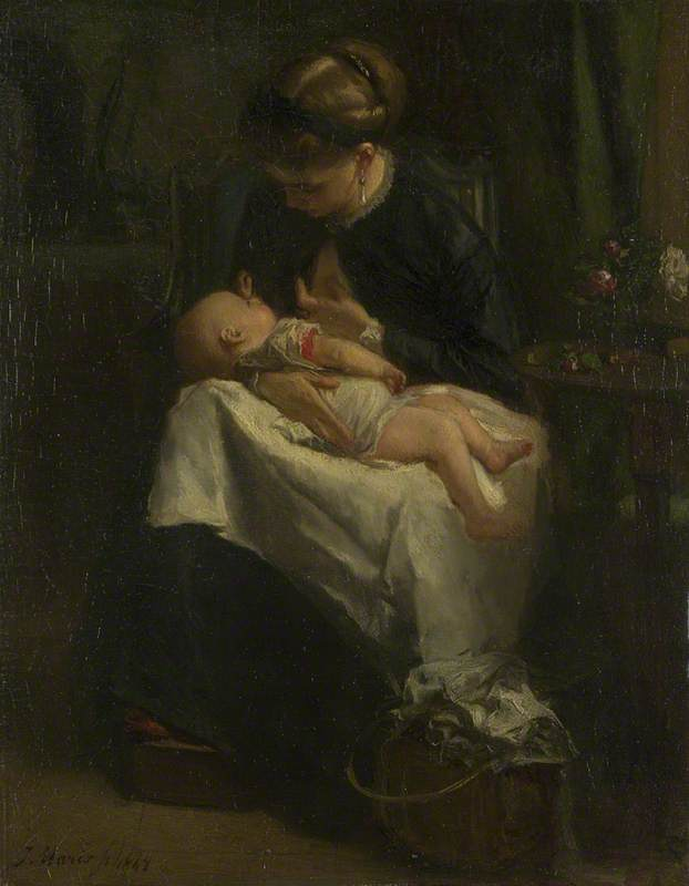 A Young Woman nursing a Baby
